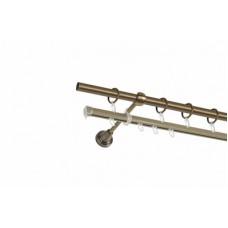 Карниз круглый металлический Золото антик 2 рядный СМ2491